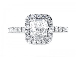 ER 1997-Cushion Cut Scallop Set Diamond Halo And Soulders in Harry Winston ' class=